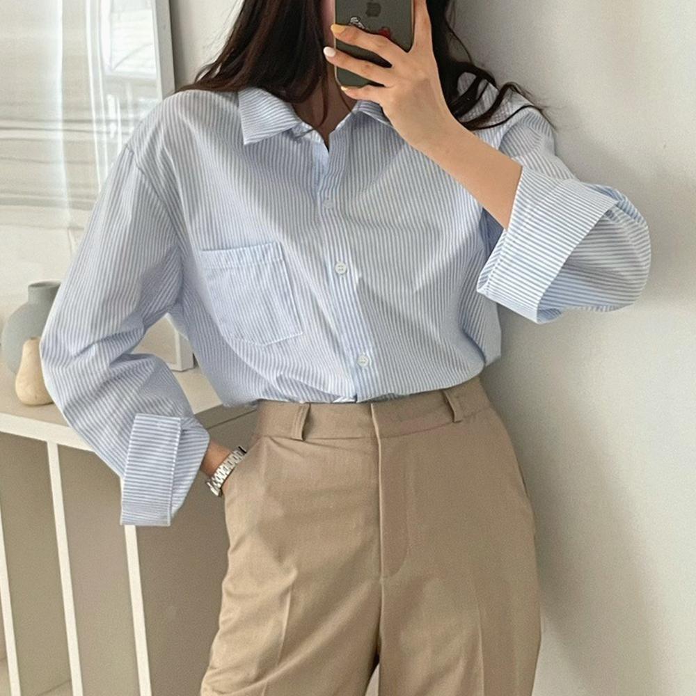 바우 스트라이프 봄 셔츠 [무배.2color]